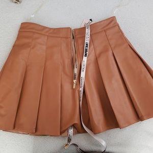 House of CB Pleated Vegan Leather Skirt
